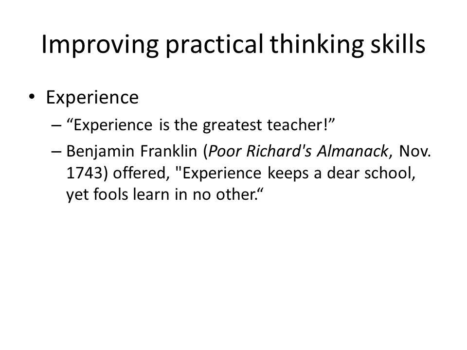 Improving practical thinking skills
