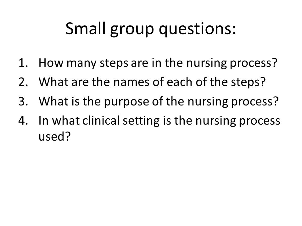 Small group questions:
