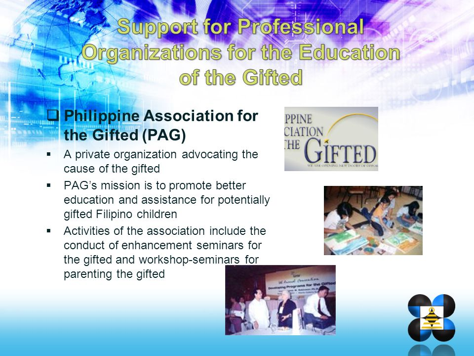 Support for Professional Organizations for the Education of the Gifted