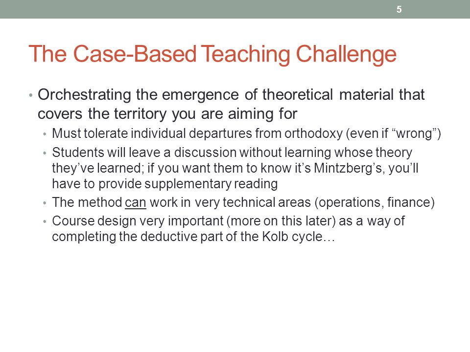 The Case-Based Teaching Challenge