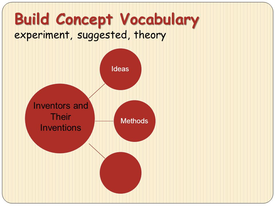 Build Concept Vocabulary experiment, suggested, theory