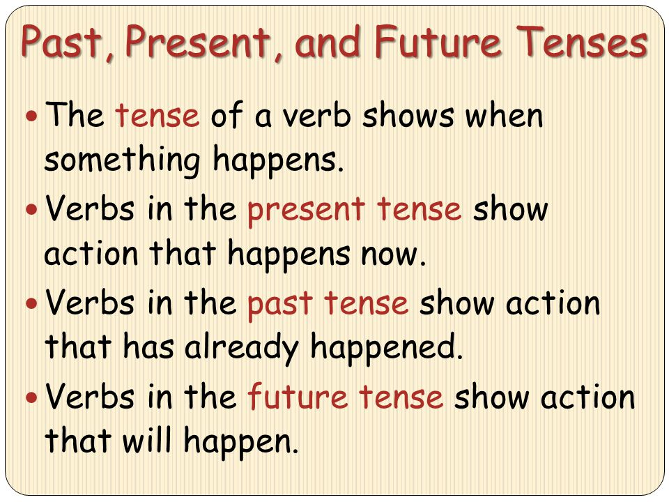 Past, Present, and Future Tenses