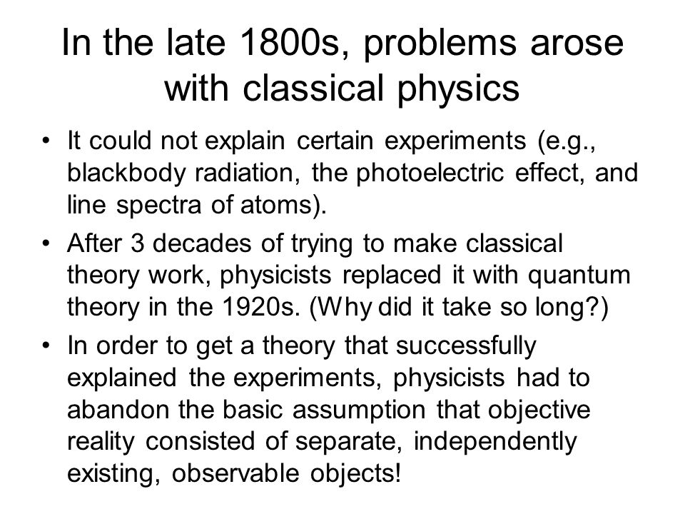 In the late 1800s, problems arose with classical physics