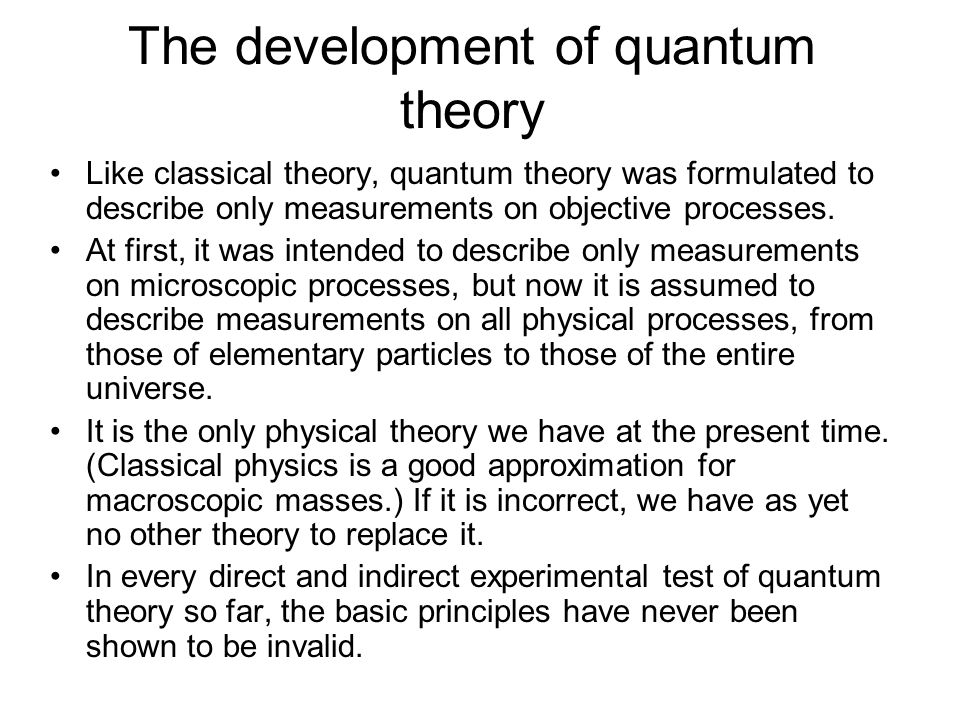 The development of quantum theory