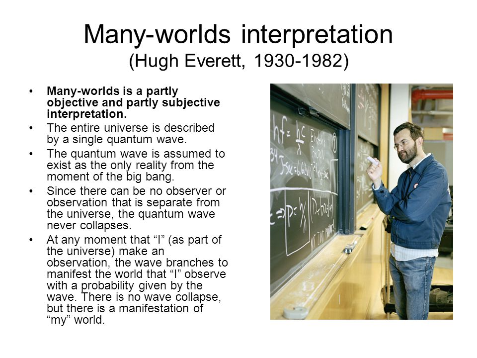 Many-worlds interpretation (Hugh Everett, 1930-1982)