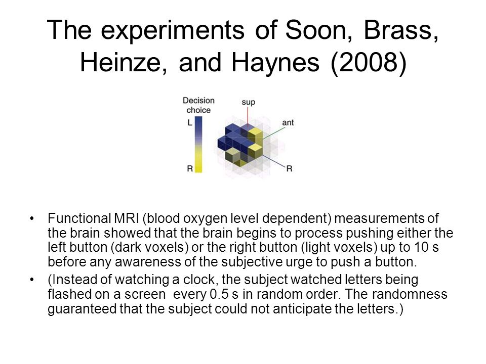 The experiments of Soon, Brass, Heinze, and Haynes (2008)