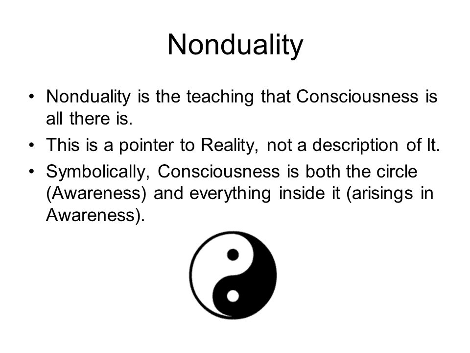 Nonduality Nonduality is the teaching that Consciousness is all there is. This is a pointer to Reality, not a description of It.