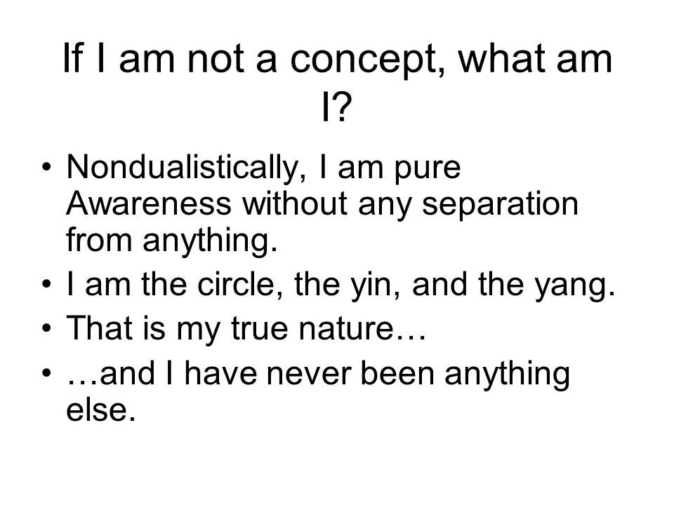 If I am not a concept, what am I