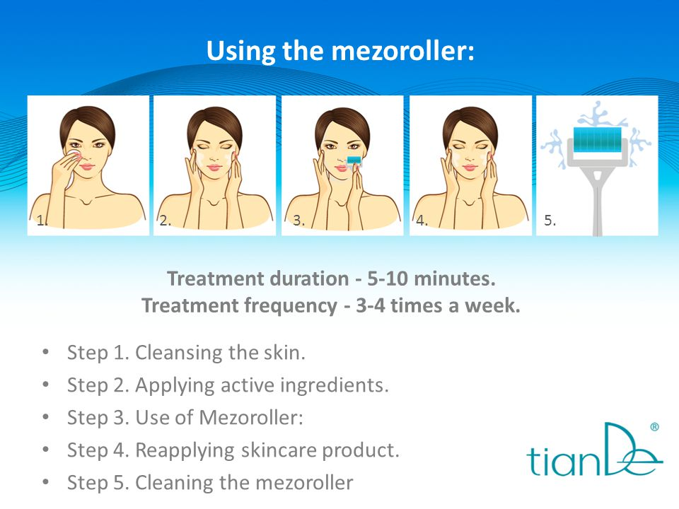 Using the mezoroller: Treatment duration - 5-10 minutes.