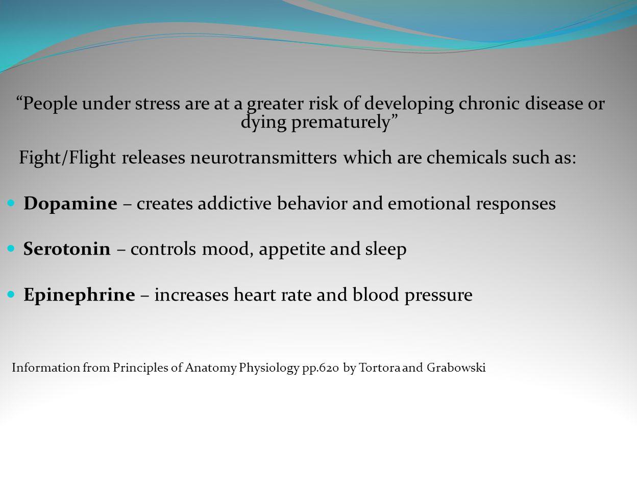 Dopamine – creates addictive behavior and emotional responses