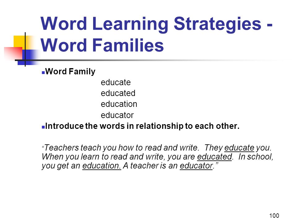 Word Learning Strategies - Word Families