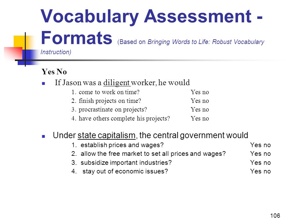 Vocabulary Assessment - Formats (Based on Bringing Words to Life: Robust Vocabulary Instruction)