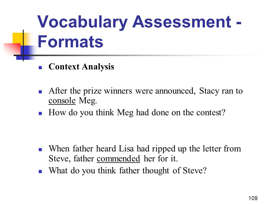 Vocabulary Assessment - Formats