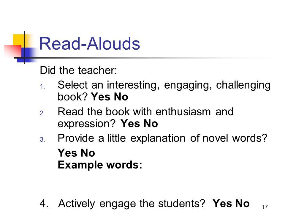 Read-Alouds Did the teacher: