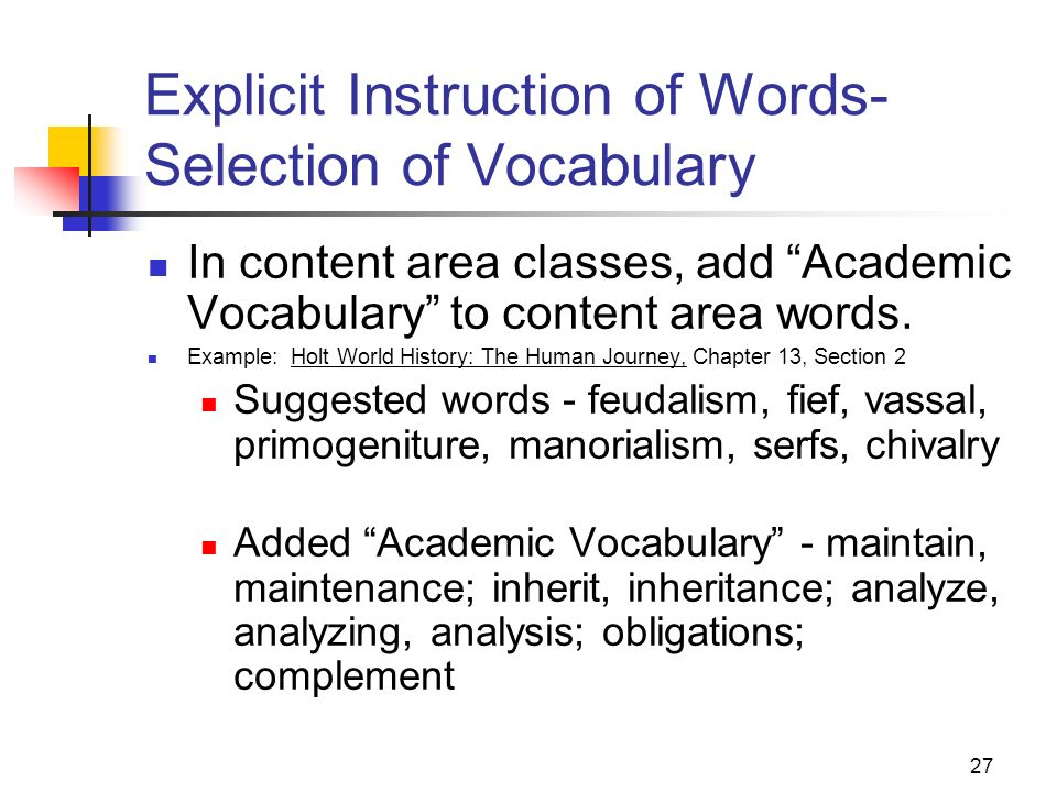 Explicit Instruction of Words- Selection of Vocabulary