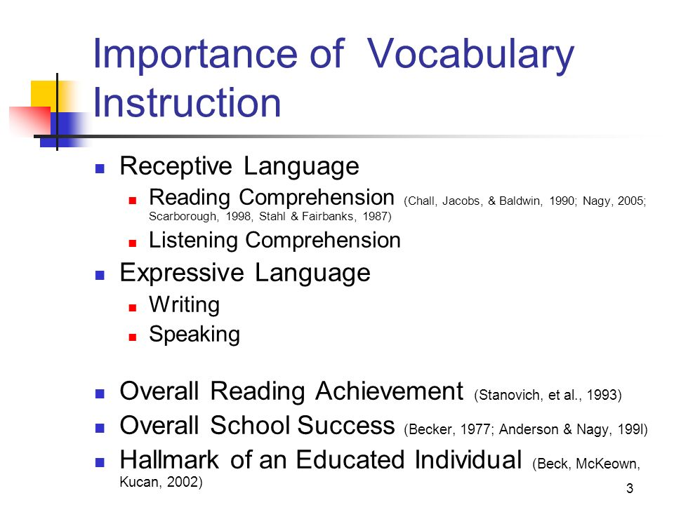the importance of a comprehensive vocabulary essay Importance of learning reading comprehension skills vocabulary) will contribute to wwwphschoolcom/eteach/language_arts/2002_12/essayhtml.