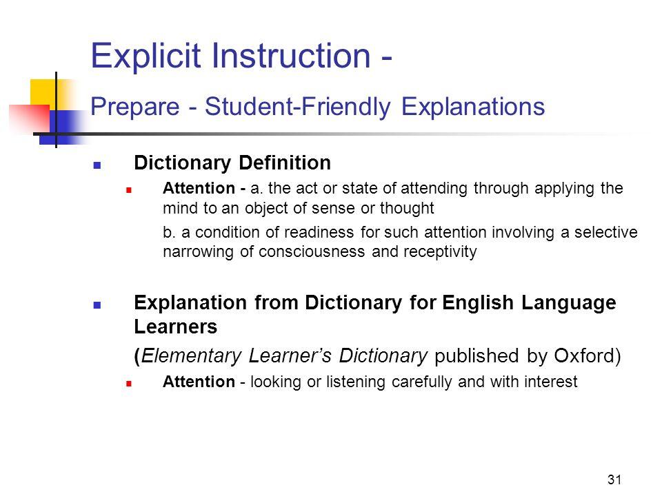 Explicit Instruction - Prepare - Student-Friendly Explanations