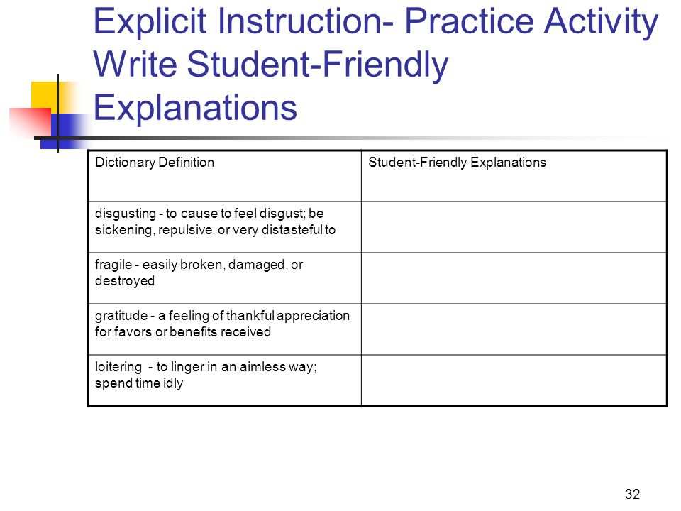 Explicit Instruction- Practice Activity Write Student-Friendly Explanations