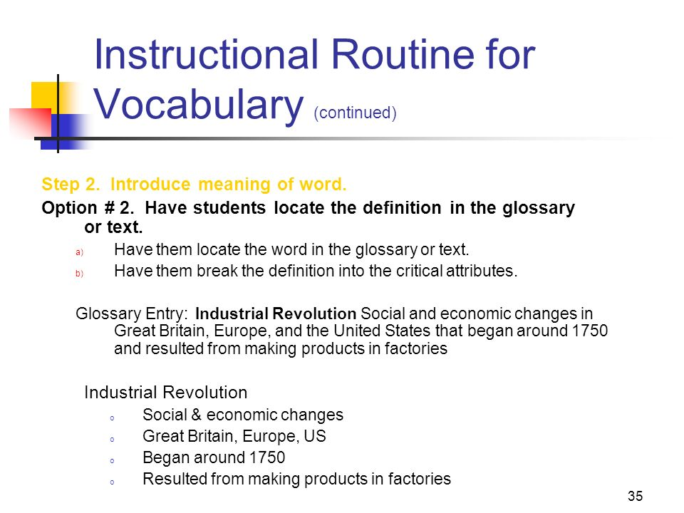 Instructional Routine for Vocabulary (continued)