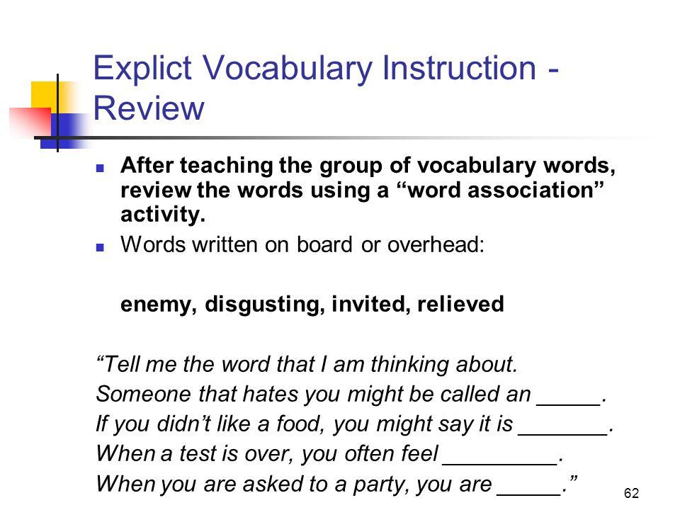 Explict Vocabulary Instruction - Review