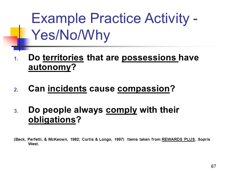 Example Practice Activity - Yes/No/Why
