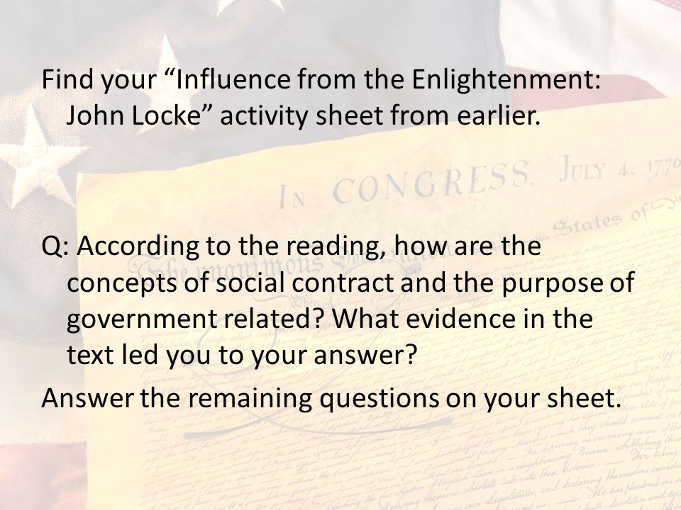Find your Influence from the Enlightenment: John Locke activity sheet from earlier.