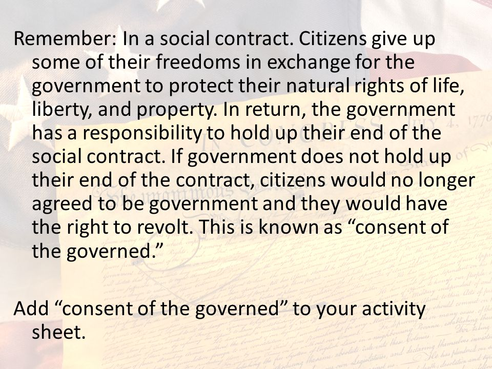Remember: In a social contract