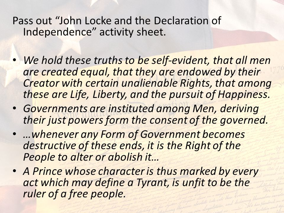 Pass out John Locke and the Declaration of Independence activity sheet.
