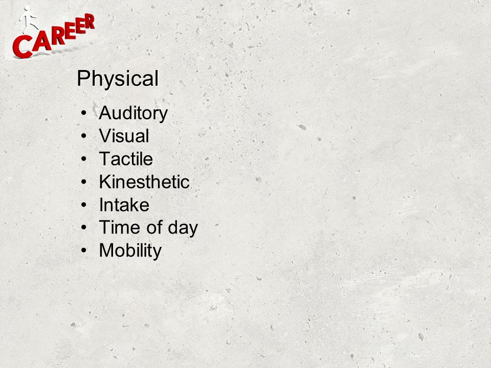 Physical Auditory Visual Tactile Kinesthetic Intake Time of day