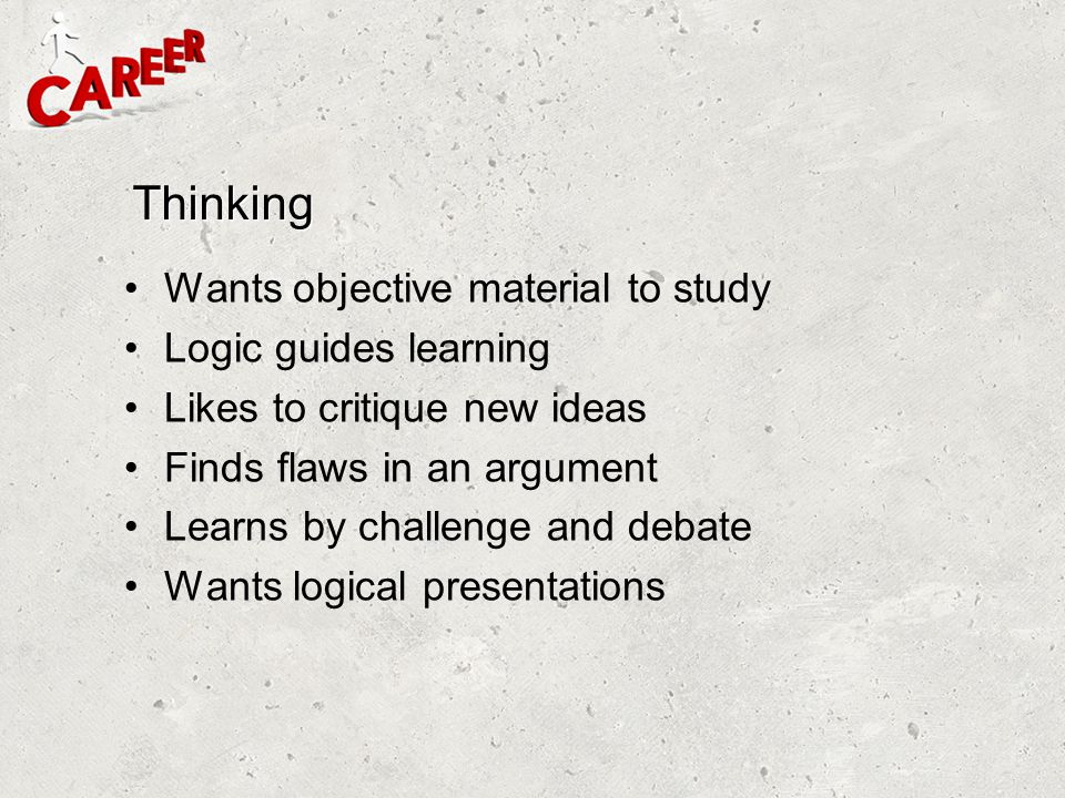 Thinking Wants objective material to study Logic guides learning