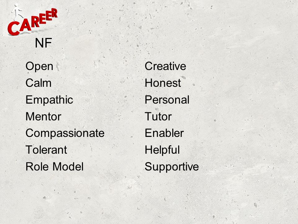 NF Open Creative Calm Honest Empathic Personal Mentor Tutor