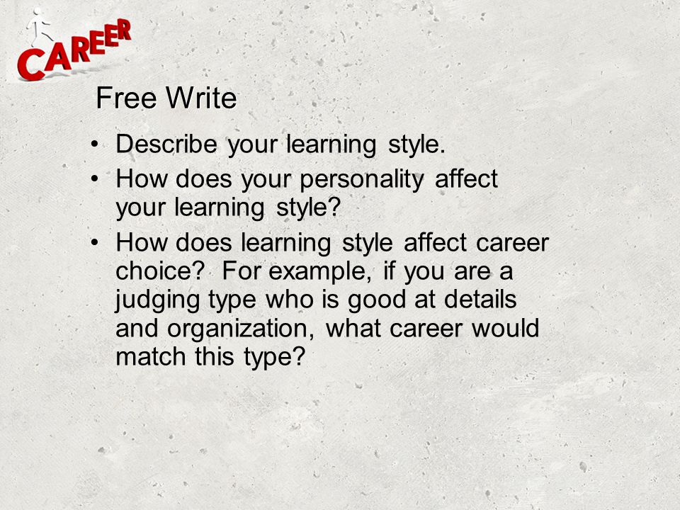 Free Write Describe your learning style.