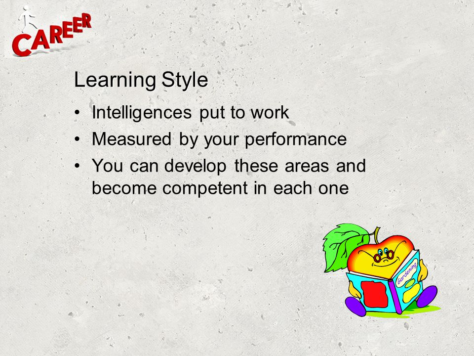 Learning Style Intelligences put to work Measured by your performance