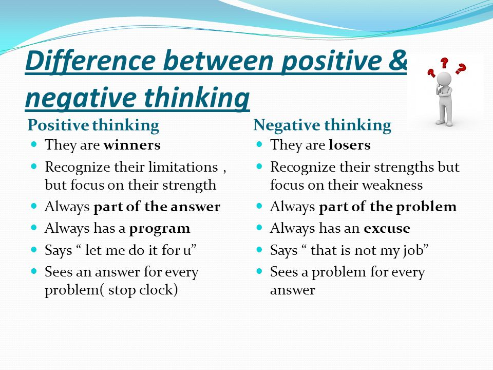 Difference between positive & negative thinking