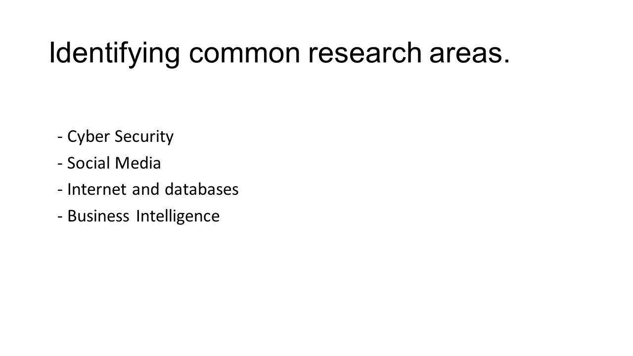 Identifying common research areas.