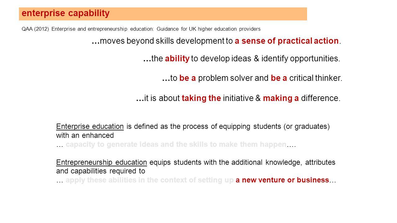 enterprise capability QAA (2012) Enterprise and entrepreneurship education: Guidance for UK higher education providers