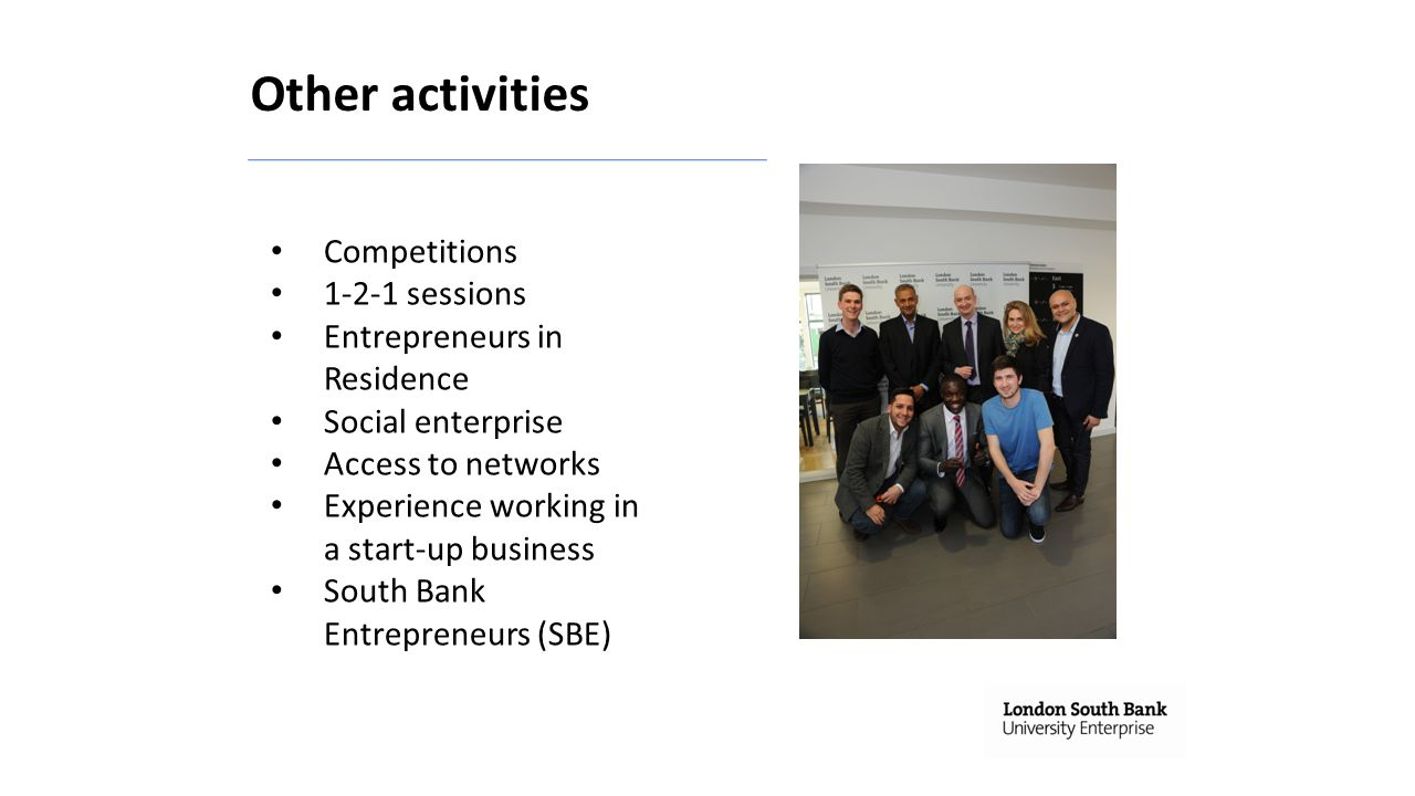 Other activities Competitions 1-2-1 sessions