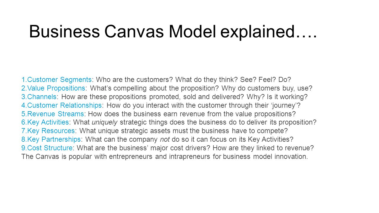 Business Canvas Model explained….