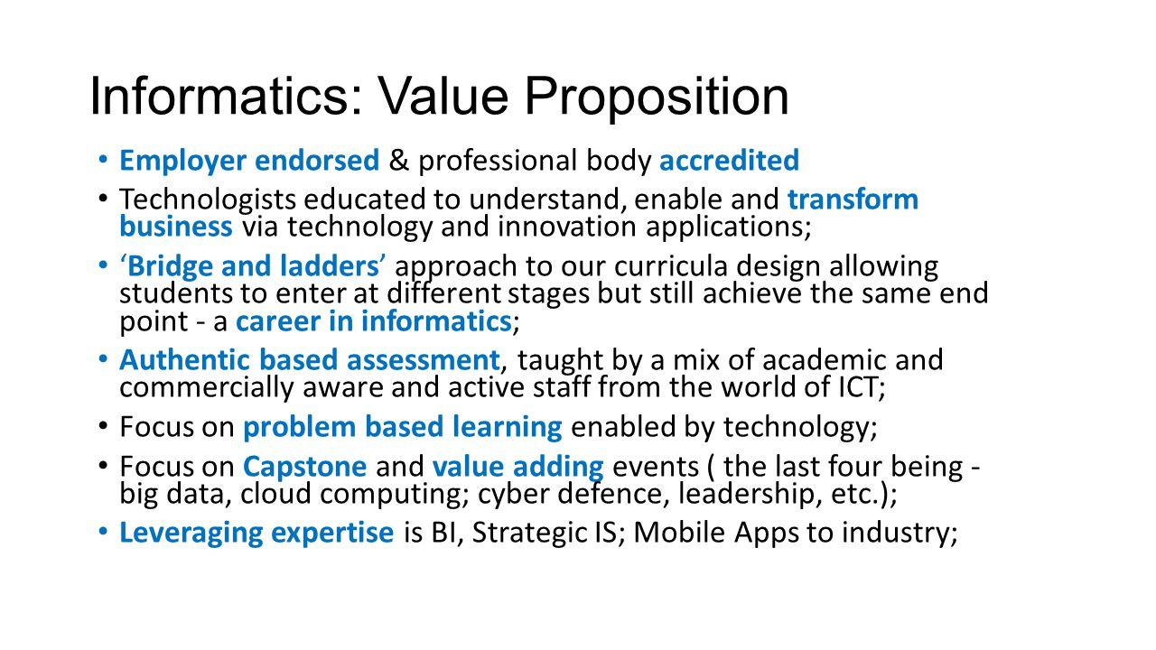 Informatics: Value Proposition