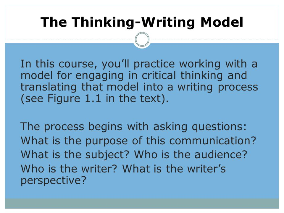 The Thinking-Writing Model