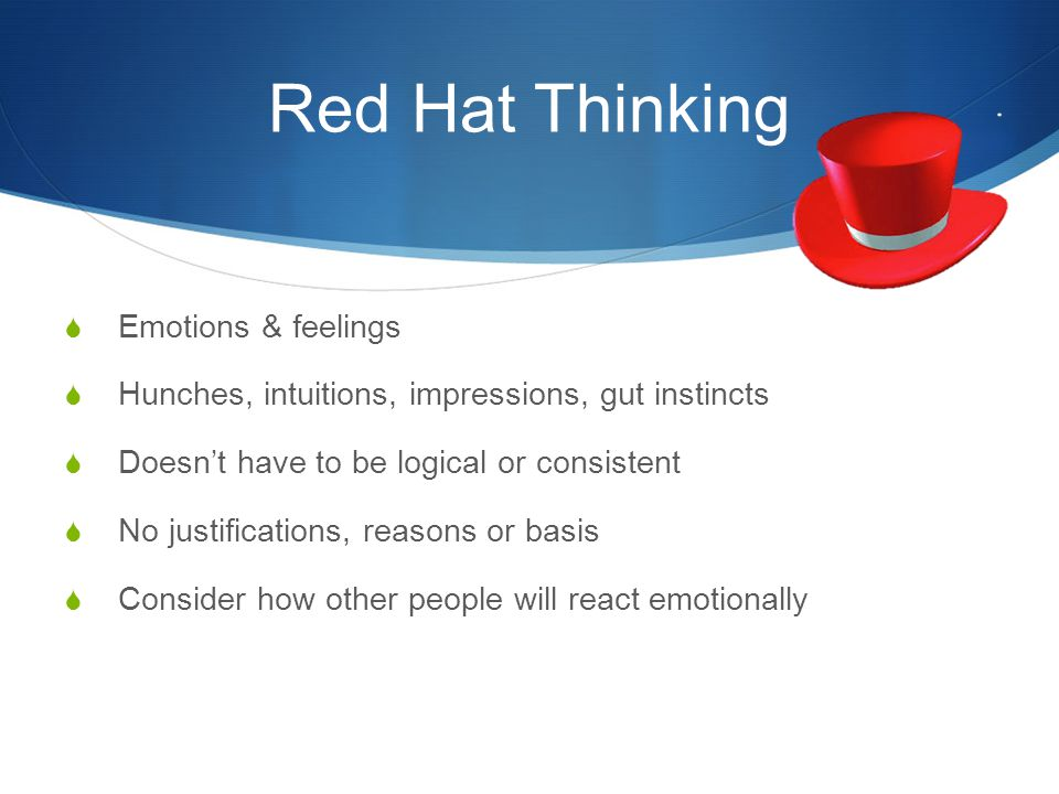 Red Hat Thinking Emotions & feelings