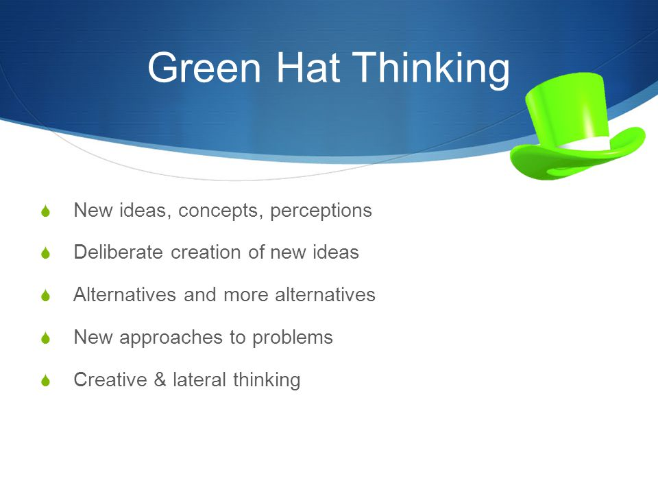 Green Hat Thinking New ideas, concepts, perceptions
