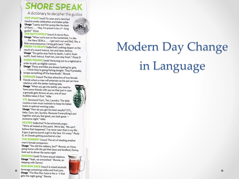 Modern Day Change in Language