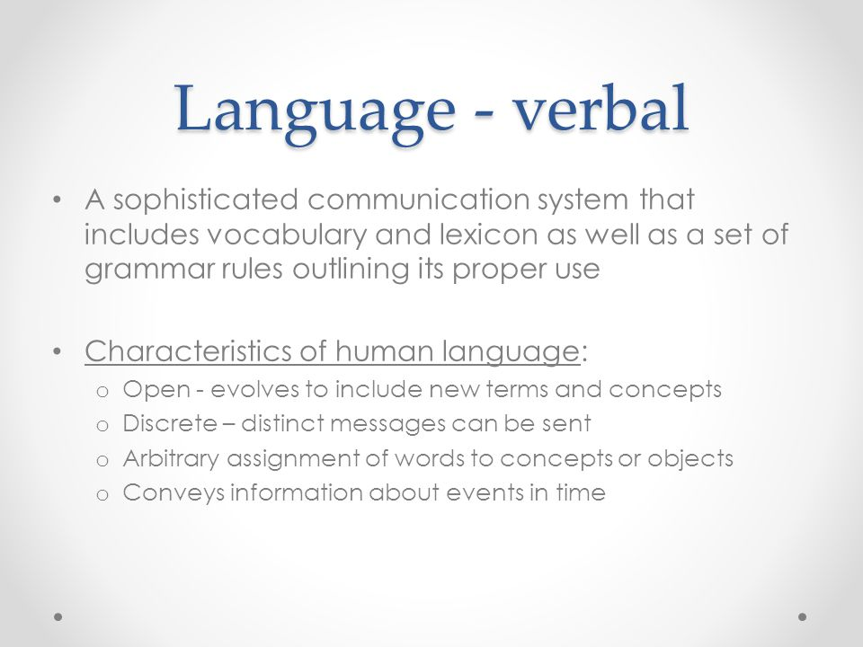 Language - verbal