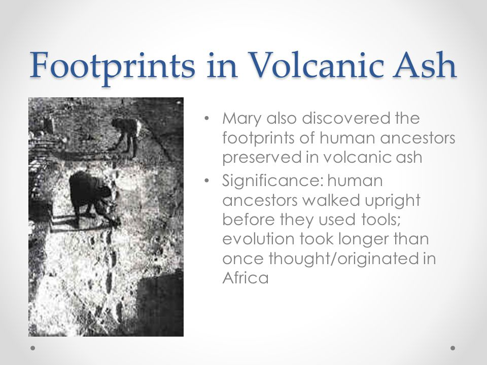 Footprints in Volcanic Ash