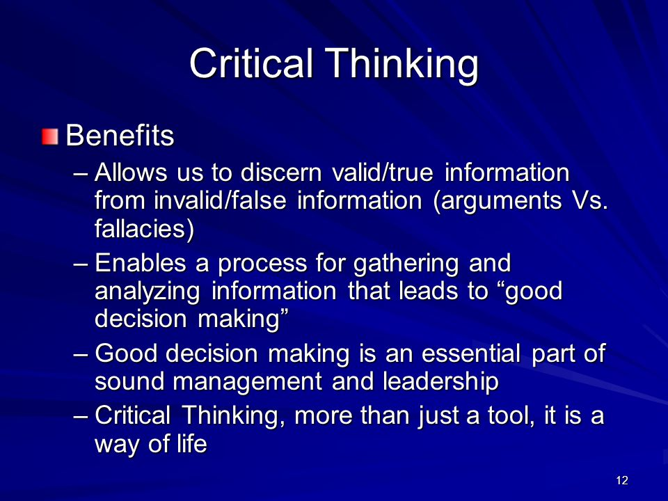 Critical Thinking Benefits