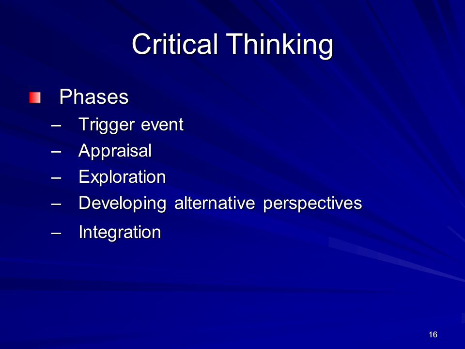 Critical Thinking Phases Trigger event Appraisal Exploration