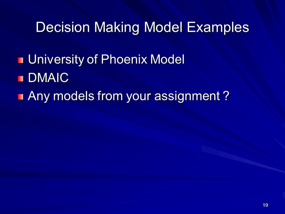 Decision Making Model Examples