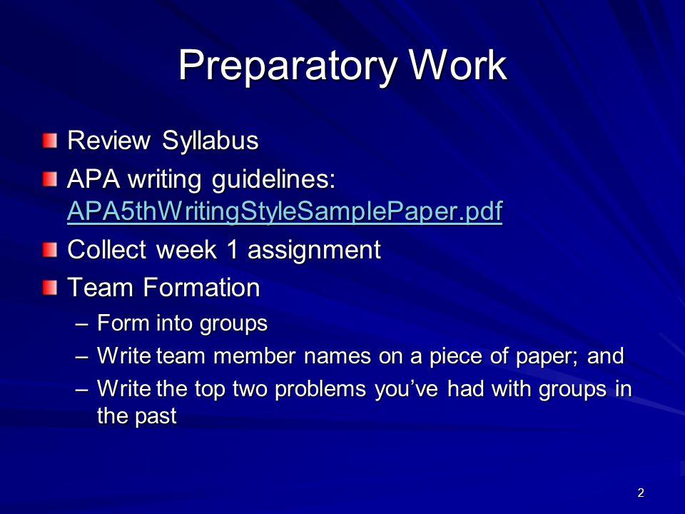 Preparatory Work Review Syllabus