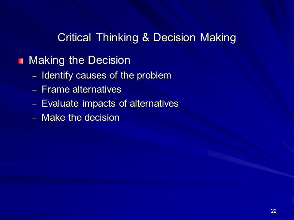 Critical thinking consider the verdict
